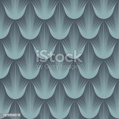 istock Abstract geometric pattern with stripe lines. Artistic fan shape floral ornamental tile background. Flourish texture in egypt style. 1319508318