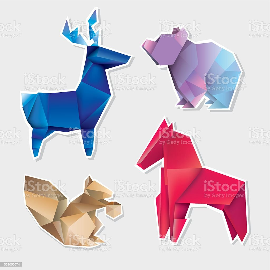Abstract Geometric Polygonal Animals Modern Design Triangular Origami Royalty Free