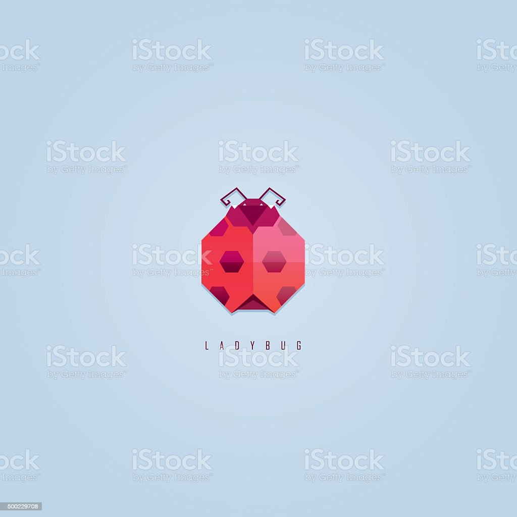 Abstract geometric polygonal red ladybug icon design vector art illustration
