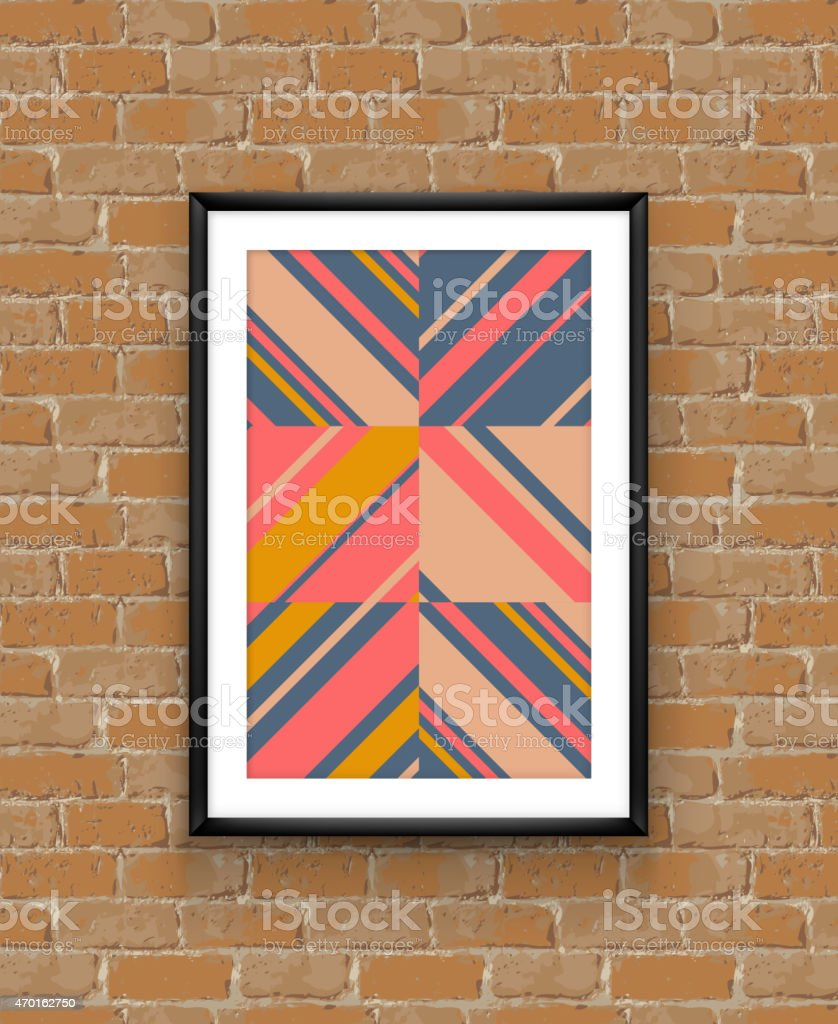 Abstract geometric poster frame on brick wall vector art illustration