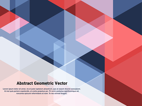 Abstract Geometric Red Ble And White Blending Vector Background Geometric Creative Concept Vector Background For Patriotic President Day Wallpaper Banner Backdrop Stock Illustration - Download Image Now