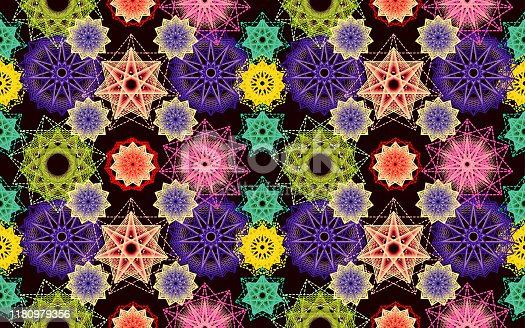 Abstract geometric seamless floral pattern - Ornament of flowers or stars.