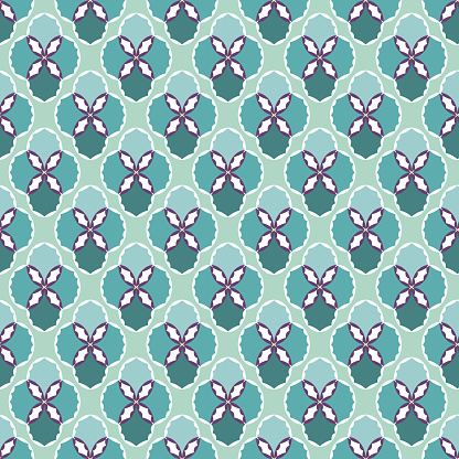 Abstract geometric seamless pattern of calm green and purple colors