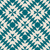 Abstract geometric seamless pattern. Vector texture with diamond shapes, triangles, repeat tiles. Simple background in tribal ethnic style. Teal and beige color. Design for decor, textile, furniture