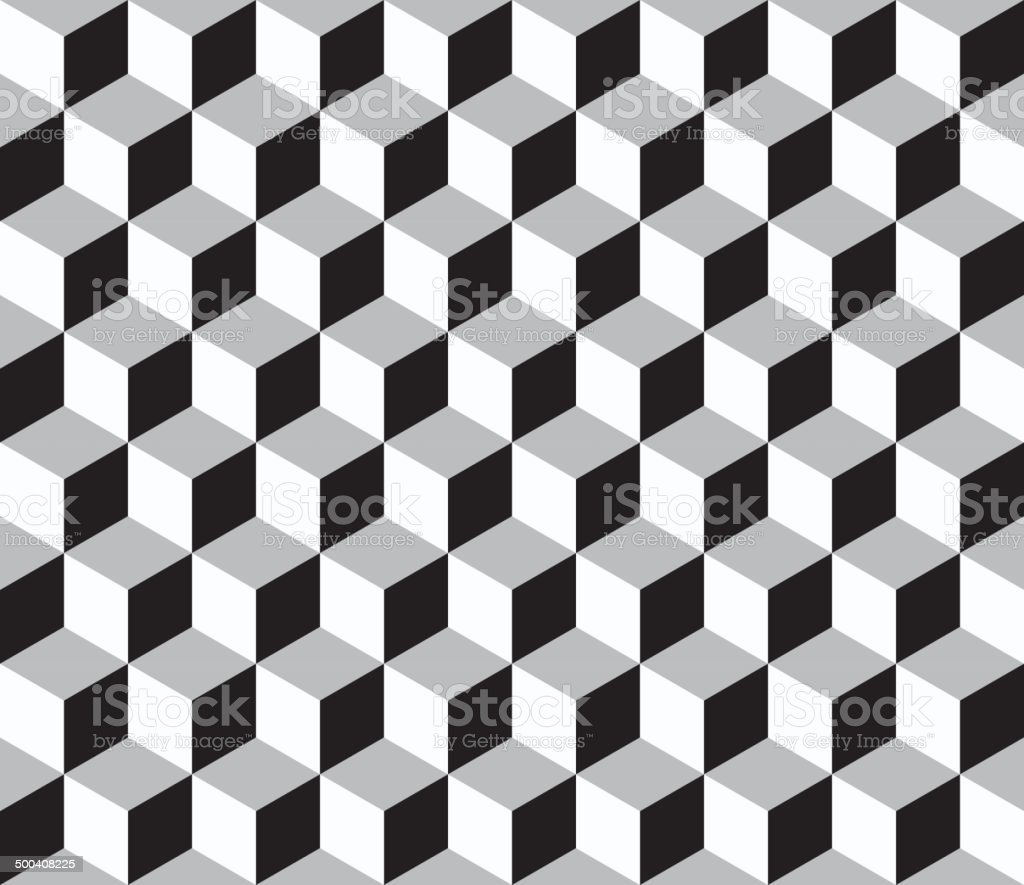 Abstract geometric  seamless pattern with 3d cubes vector art illustration