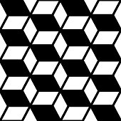 Abstract geometric seamless vector pattern, modern black and white repetitive decoration