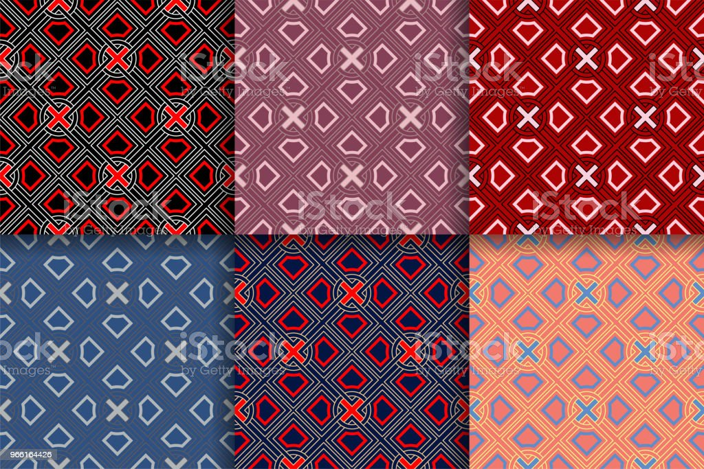 Abstract geometric seammles pattern. Colored collection backgrounds. - Векторная графика Абстрактный роялти-фри