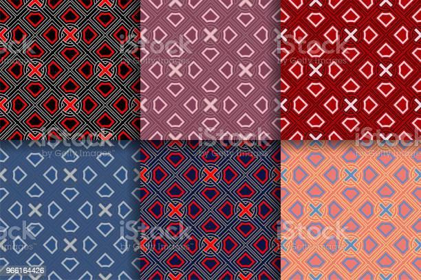 Абстрактный Геометрический Узор Морских Ммлей Цветные Фоны Коллекции — стоковая векторная графика и другие изображения на тему Абстрактный