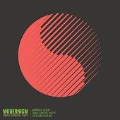 Minimalistic geometric design Yin Yang Symbol. Simple figure form in red color
