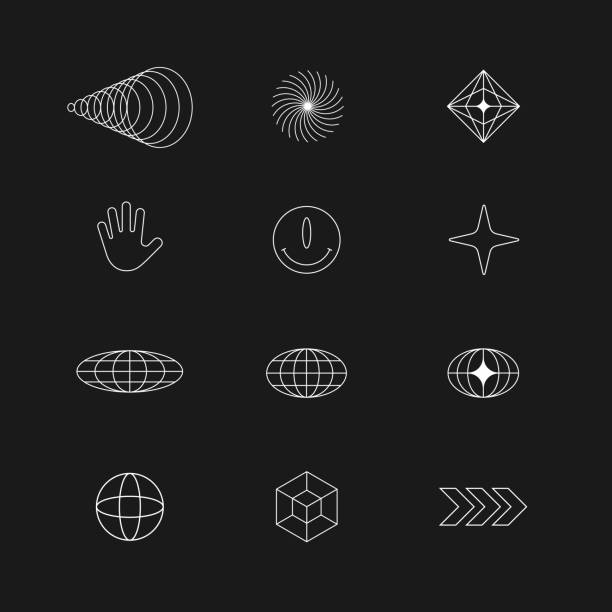 Abstract Geometric shapes, elements. Brutalism, Techno style for your Design. Vector abstract symbols Abstract Geometric shapes, elements. Brutalism, Techno style for your Design. Vector abstract symbols conceptual symbol stock illustrations