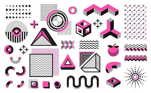 Abstract geometric shapes. Geometric modern minimal elements, hipster black halftone pattern. Vector trendy geometric art