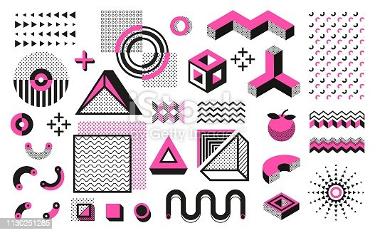 Abstract geometric shapes. Geometric modern minimal elements, hipster black halftone pattern. Vector trendy geometric pop art