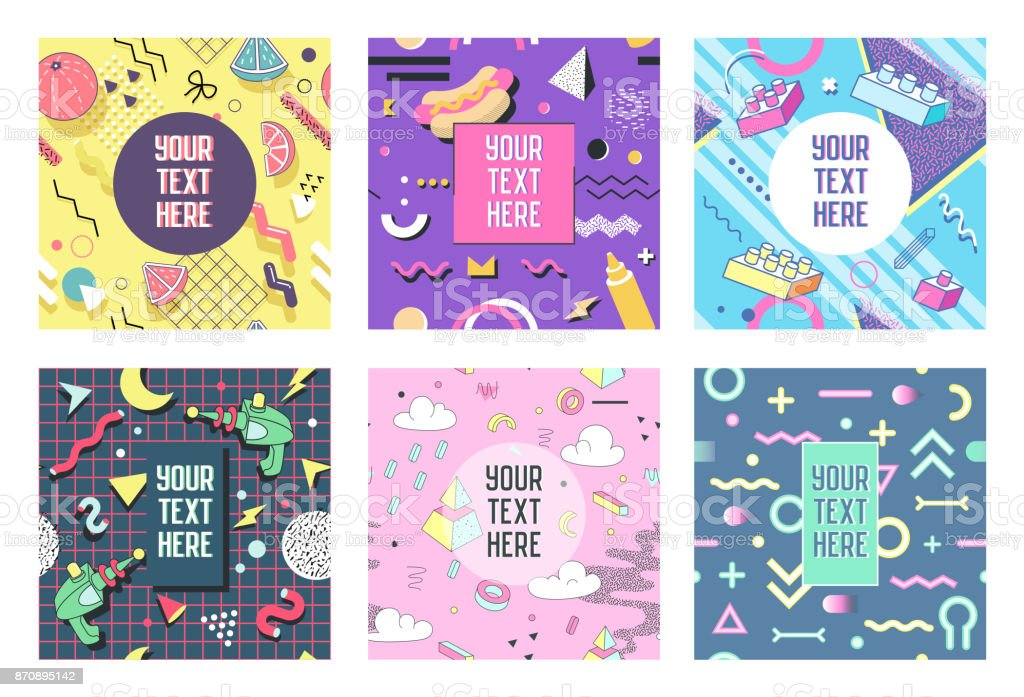 Abstract Geometric Shapes Placards. 80s 90s Trendy Retro Posters, Banners, Covers Design. Flyers Cards Templates. Vector illustration vector art illustration
