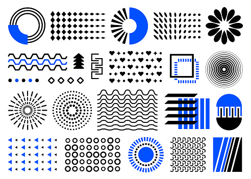 abstract geometric shapes. set of black and blue memphis elements