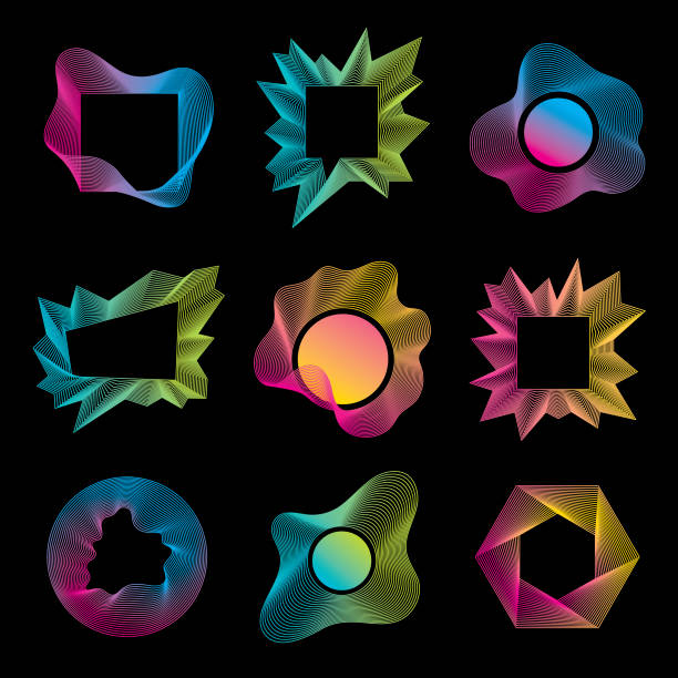 abstract geometric shapes set - превращаться stock illustrations