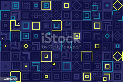 Abstract geometric squares dark background pattern.