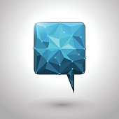 Abstract geometric speech bubble with triangular polygons
