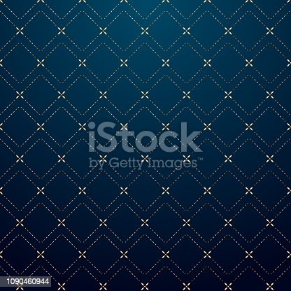 Abstract geometric squares gold dash line pattern on dark blue background luxury style. Vector illustration