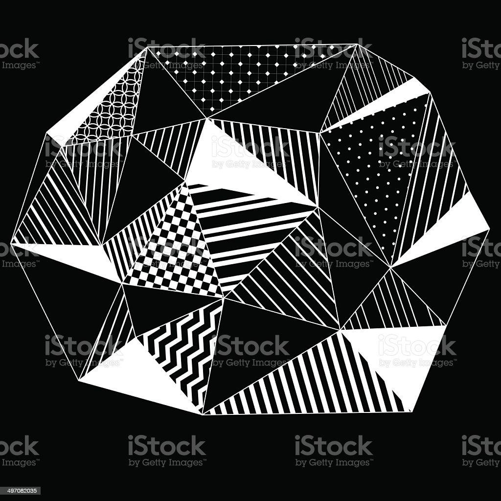 Astratto Geometrico Con Triangoli Sfondo A Righe In Bianco E Nero