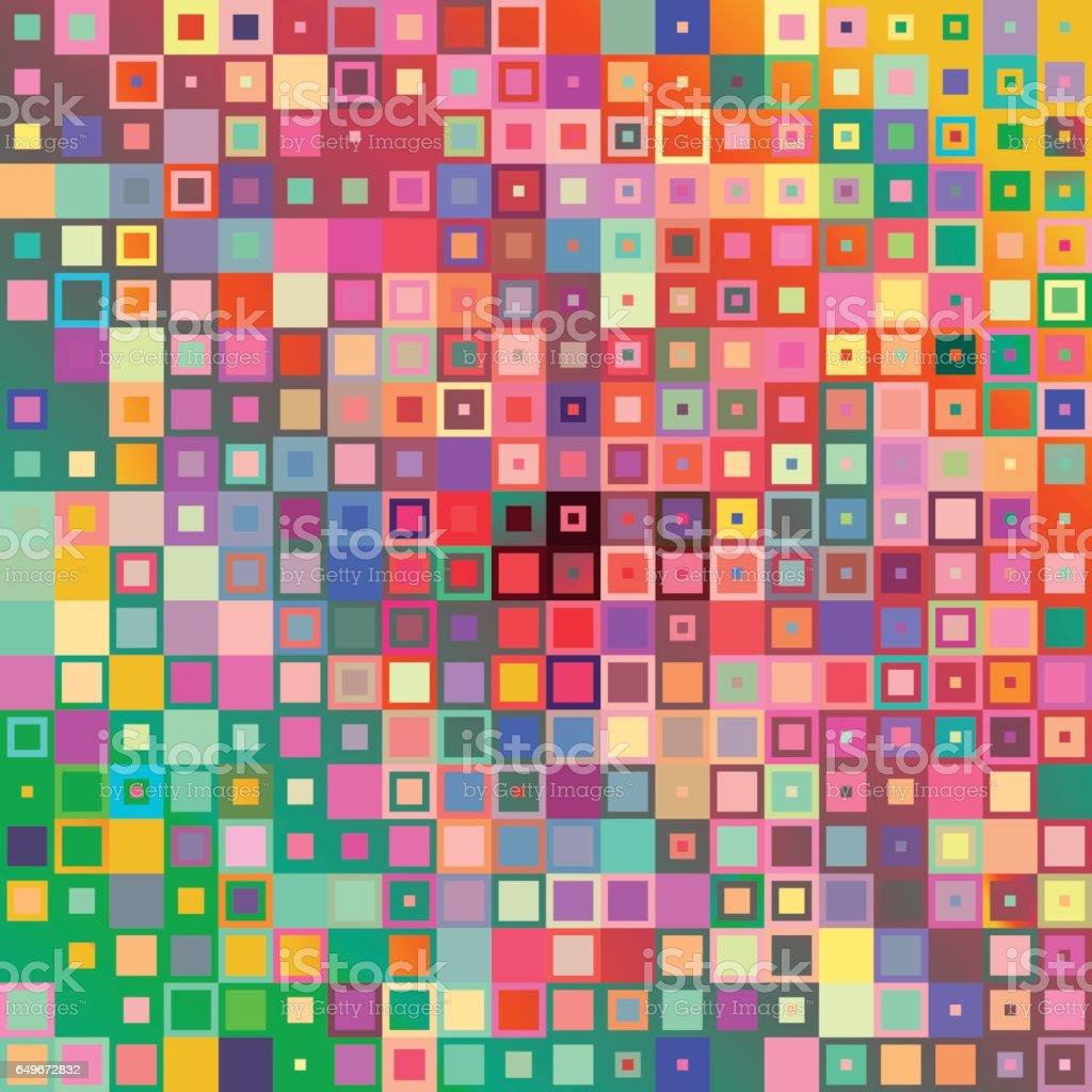 Fondo de mosaico de estilo geométrico abstracto con coloridas formas cuadradas. - ilustración de arte vectorial