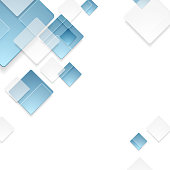 Abstract geometric tech blue squares graphic design. Vector template background
