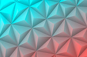 Modern and trendy abstract geometric background in a low poly style. Beautiful polygonal mosaic with a color gradient. This illustration can be used for your design, with space for your text (colors used: Turquoise, Blue, green, Pink, Orange, Red). Vector Illustration (EPS10, well layered and grouped), wide format (3:2). Easy to edit, manipulate, resize or colorize.
