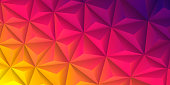 Modern and trendy abstract geometric background in a low poly style. Beautiful polygonal mosaic with a color gradient. This illustration can be used for your design, with space for your text (colors used: Yellow, Orange, Red, Pink, Purple). Vector Illustration (EPS10, well layered and grouped), wide format (2:1). Easy to edit, manipulate, resize or colorize.