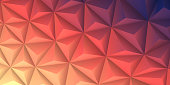 Modern and trendy abstract geometric background in a low poly style. Beautiful polygonal mosaic with a color gradient. This illustration can be used for your design, with space for your text (colors used: Yellow, Beige, Orange, Red, Pink, Brown, Purple, Blue, Black). Vector Illustration (EPS10, well layered and grouped), wide format (2:1). Easy to edit, manipulate, resize or colorize.