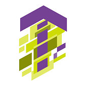 Abstract geometric up arrow purple on white background,vector illustration