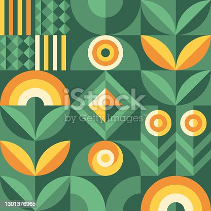 istock Abstract geometric vector pattern in Scandinavian style. Agriculture symbol. Harvest of garden. Background illustration graphic design. 1301376965