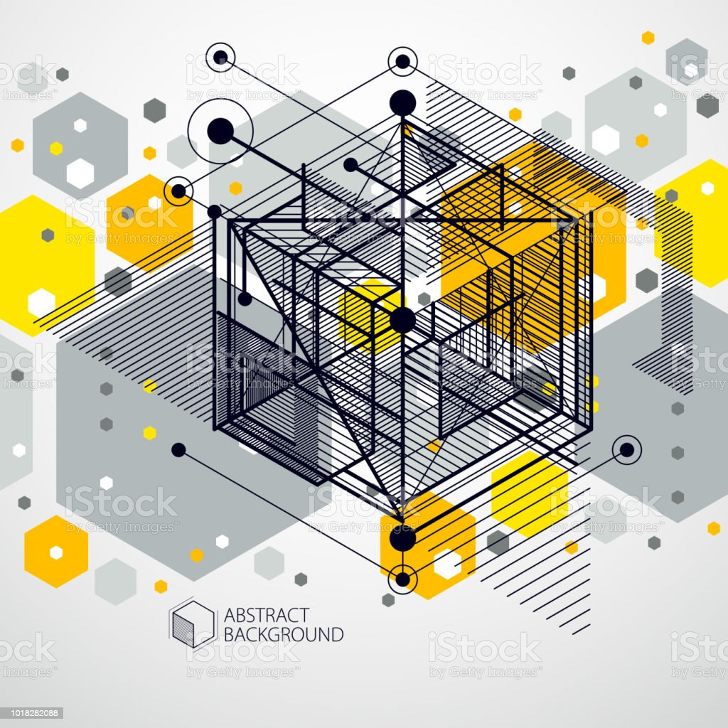 Abstract Geometric Vector Yellow Background With Cubes And Other ...
