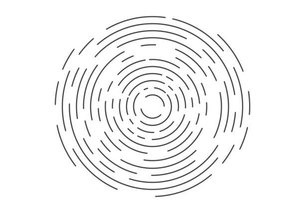 abstract geometric vortex, circular swirl lines, fingerprint. vector illustration - концентрический stock illustrations