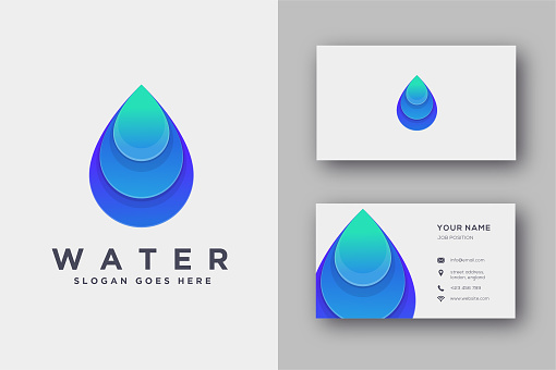 Abstract geometric water vector icon and business card