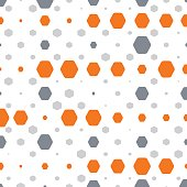 Abstract geometric white background with orange and gray hexagons of different size.