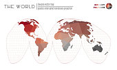 Abstract geometric world map. Goode's interrupted homolosine projection of the world. Red Grey colored polygons. Awesome vector illustration.
