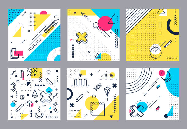 Abstract geometrical background. Modern geometric shapes, funky minimal and style square cards design vector illustration set vector art illustration