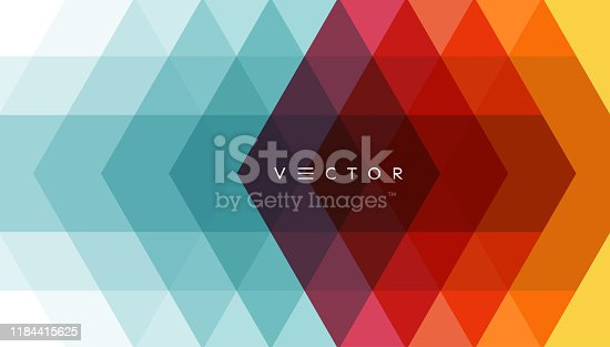 istock Abstract geometrical background. Polygonal pattern with color triangles. 3d vector illustration for advertising, marketing and presentation. 1184415625