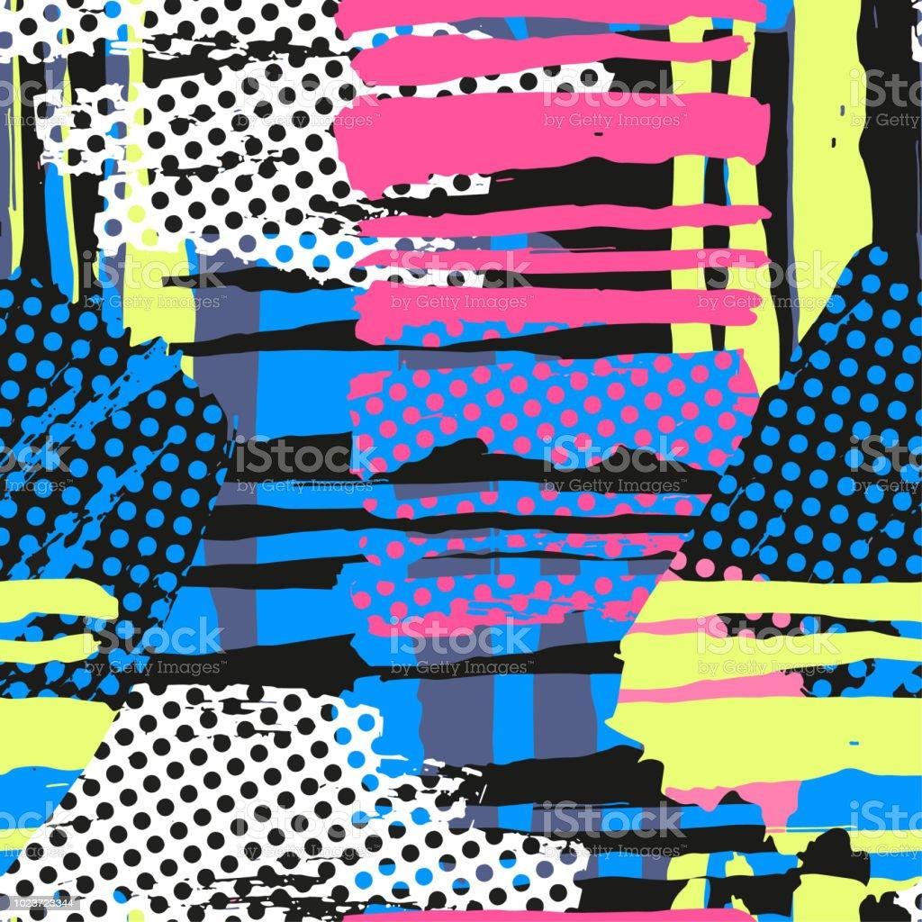 Modèle abstrait géométrique grunge bruts sans couture, modèle de conception moderne. - clipart vectoriel de A la mode libre de droits