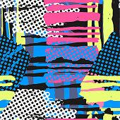 Abstract geometrical seamless rough grunge pattern, modern design template.