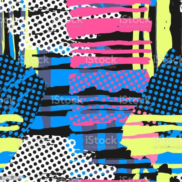 Modèle Abstrait Géométrique Grunge Bruts Sans Couture Modèle De Conception Moderne Vecteurs libres de droits et plus d'images vectorielles de A la mode