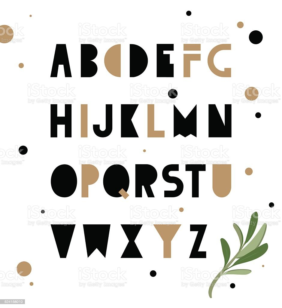 Abstract geometry alphabet. Hipster vector art illustration