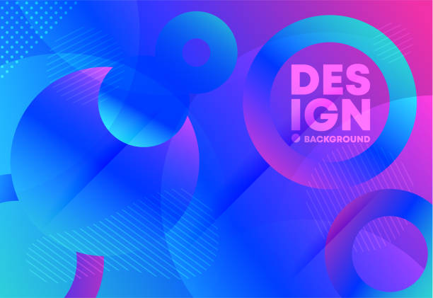 Abstract geometry background with multi-layered effect and with circles vector art illustration