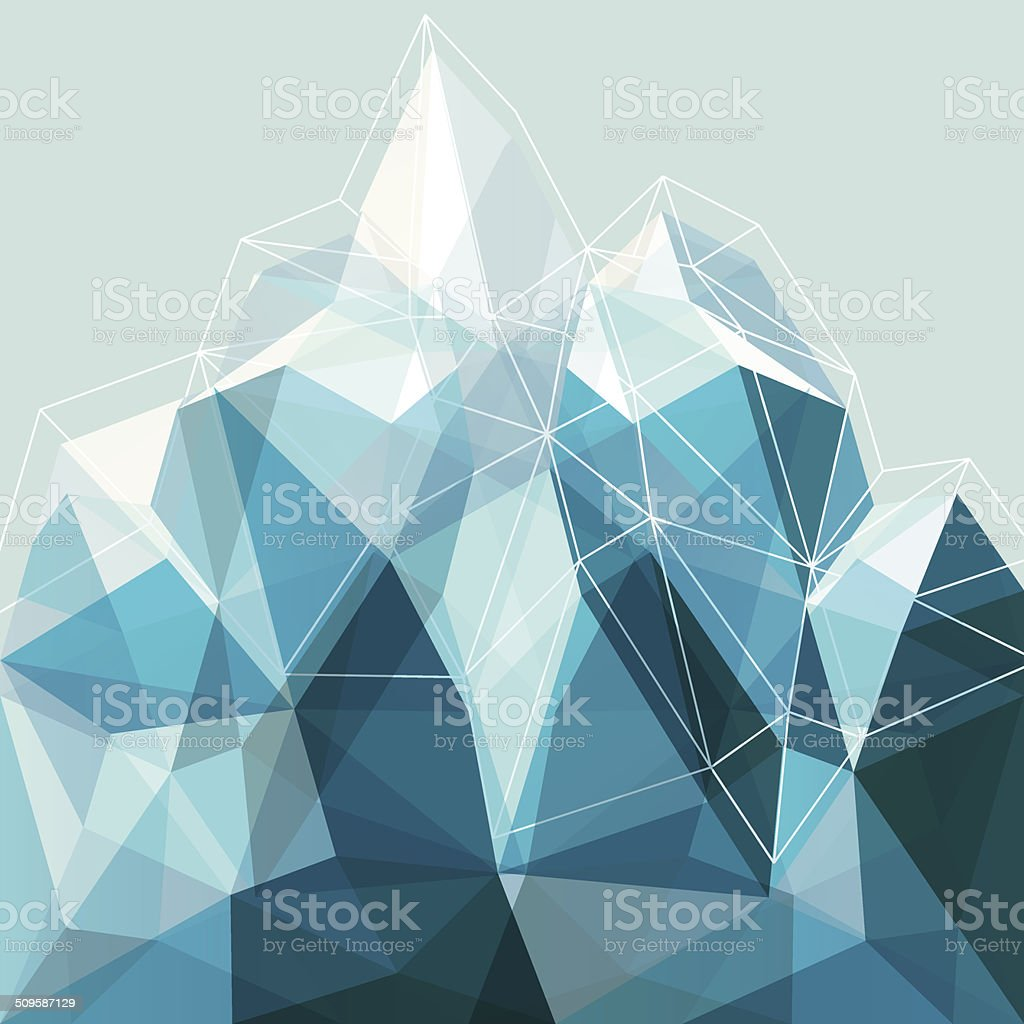 Abstract geometry blue mountain vector art illustration