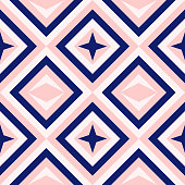 Diamond shapes pattern. Abstract geometry in navy blue and blush pink. Seamless vector pattern. Millennial pink background. Fashion fabric pattern design.