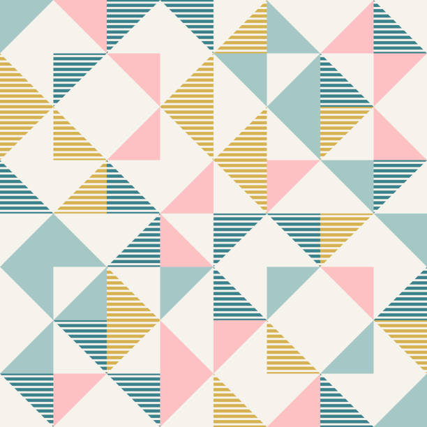 Abstract geometry in retro colors, diamond shapes geo pattern vector art illustration
