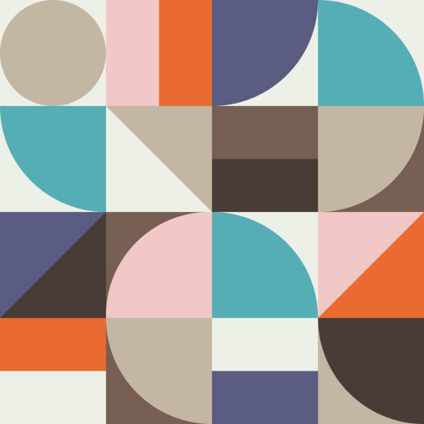 Abstract Geometry Pattern Graphic 02 Geometry minimalistic artwork poster with simple shape and figure. Abstract vector pattern design in Scandinavian style for web banner, business presentation, branding package, fabric print, wallpaper. scandinavian culture stock illustrations