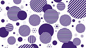 Abstract Geometry Pattern with circles and stripped circles