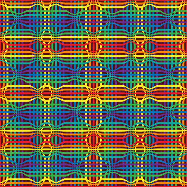 abstract geometry rainbow seamless pattern from color lines - phil spector stock illustrations