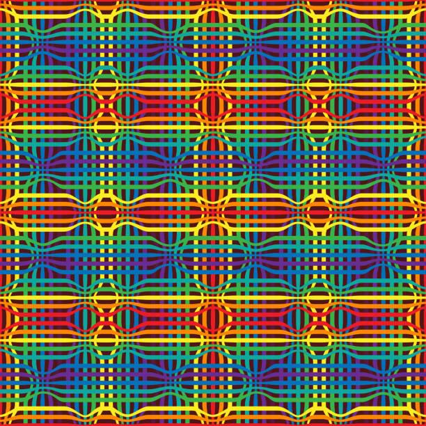ilustraciones, imágenes clip art, dibujos animados e iconos de stock de geometría abstracta arco iris patrón sin costuras de líneas de color - phil spector