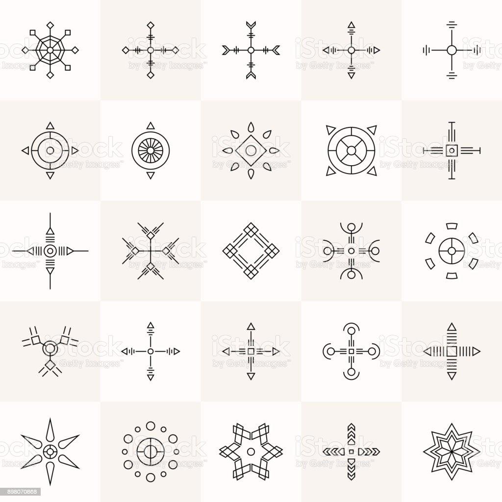 Conjunto de símbolos de Geometria abstrata. - ilustração de arte em vetor
